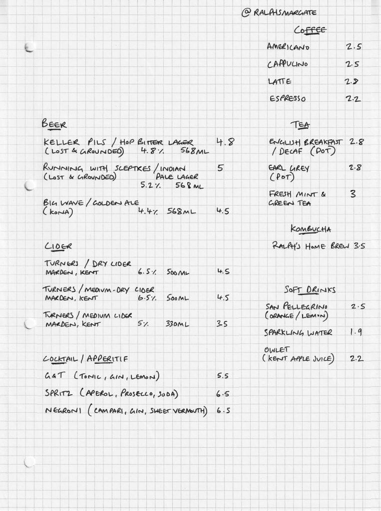 Ralph's Margate, Sourdough pizza menu