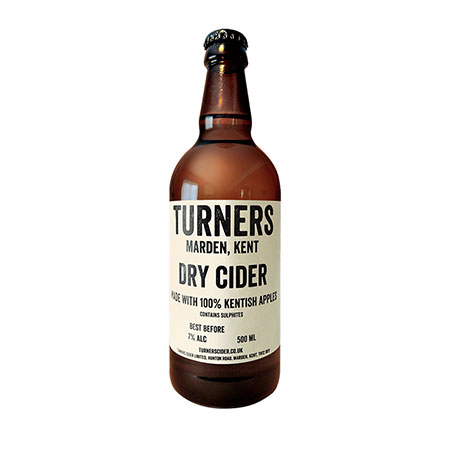 Turner's Dry Cider 500ml bottle ABV 6% Still, light, crisp cider with high acidity and low sweetness. Unfiltered and unpasteurised. *Very Highly Commended at the British Cider Championships, Royal Bath & West Show, 2015.*