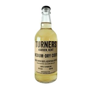 Turner's Medium-Dry Sparkling Cider 500ml bottle ABV 6% Lightly sparkling, crisp and fruity cider with a balance of acidity and sweetness.