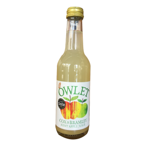 Owlet Kent Cox & Bramley Apple Juice. A blend of aromatic cox and sharp bramley gives a medium flavour. First prize in the British Apple Juice Competition 2018 and numerous other awards, including a triple gold star! 250ml